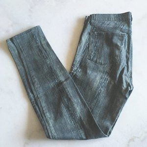New! J Brand Super Skinny green wood grain pant